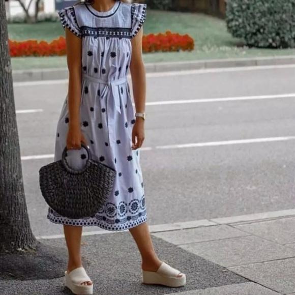 Zara Dresses & Skirts - Pretty Zara striped dress with embroidery